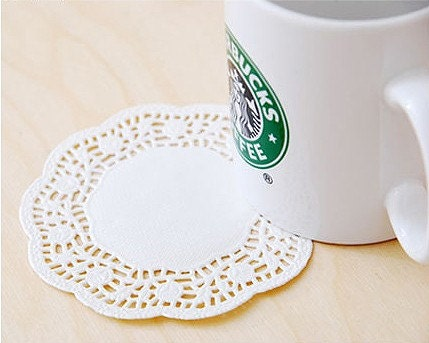 4.5 inch Rose Flower Paper Doily - set of 60