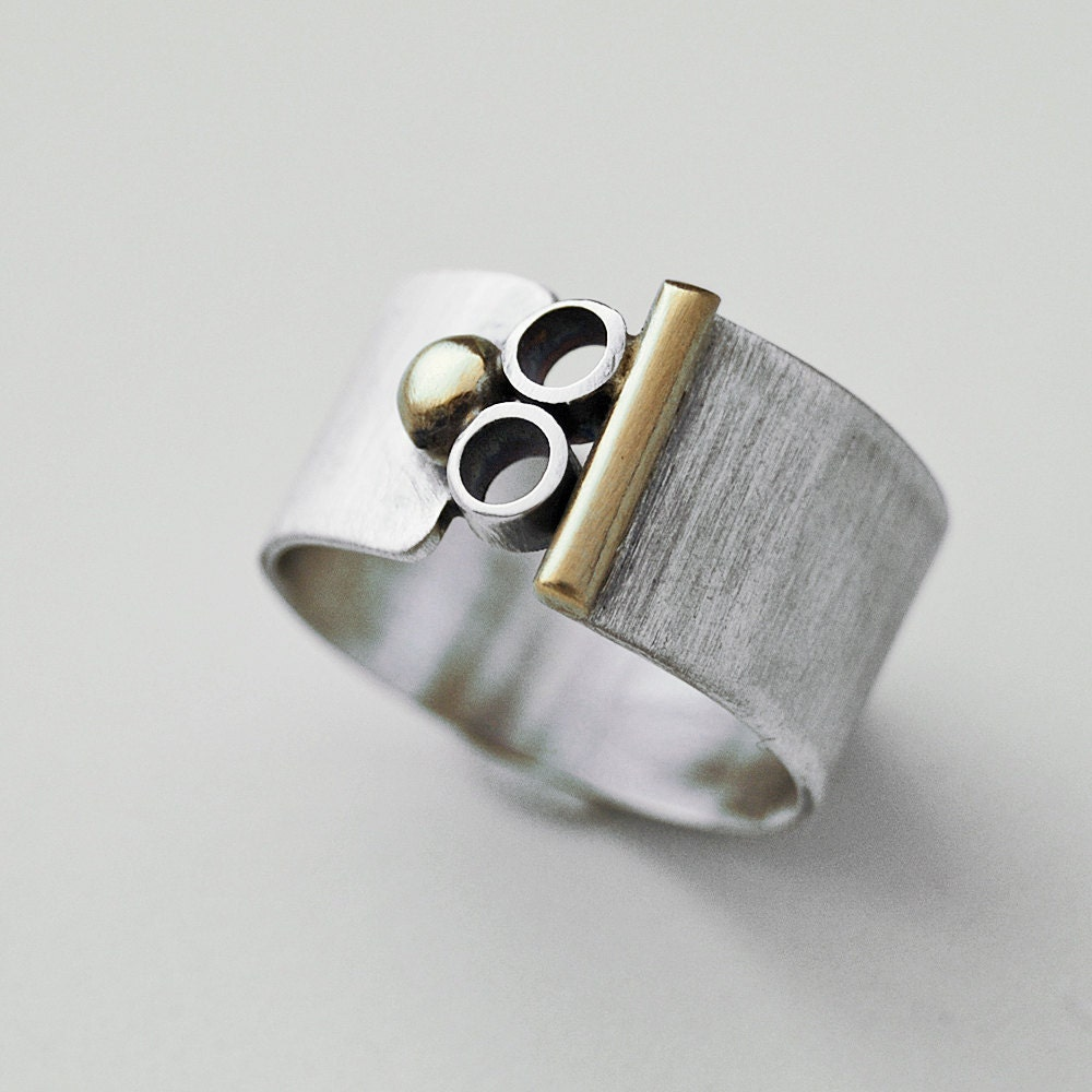 Silver and Gold Mod Ring by Cyndie Smith Designs on Upcycle Fever