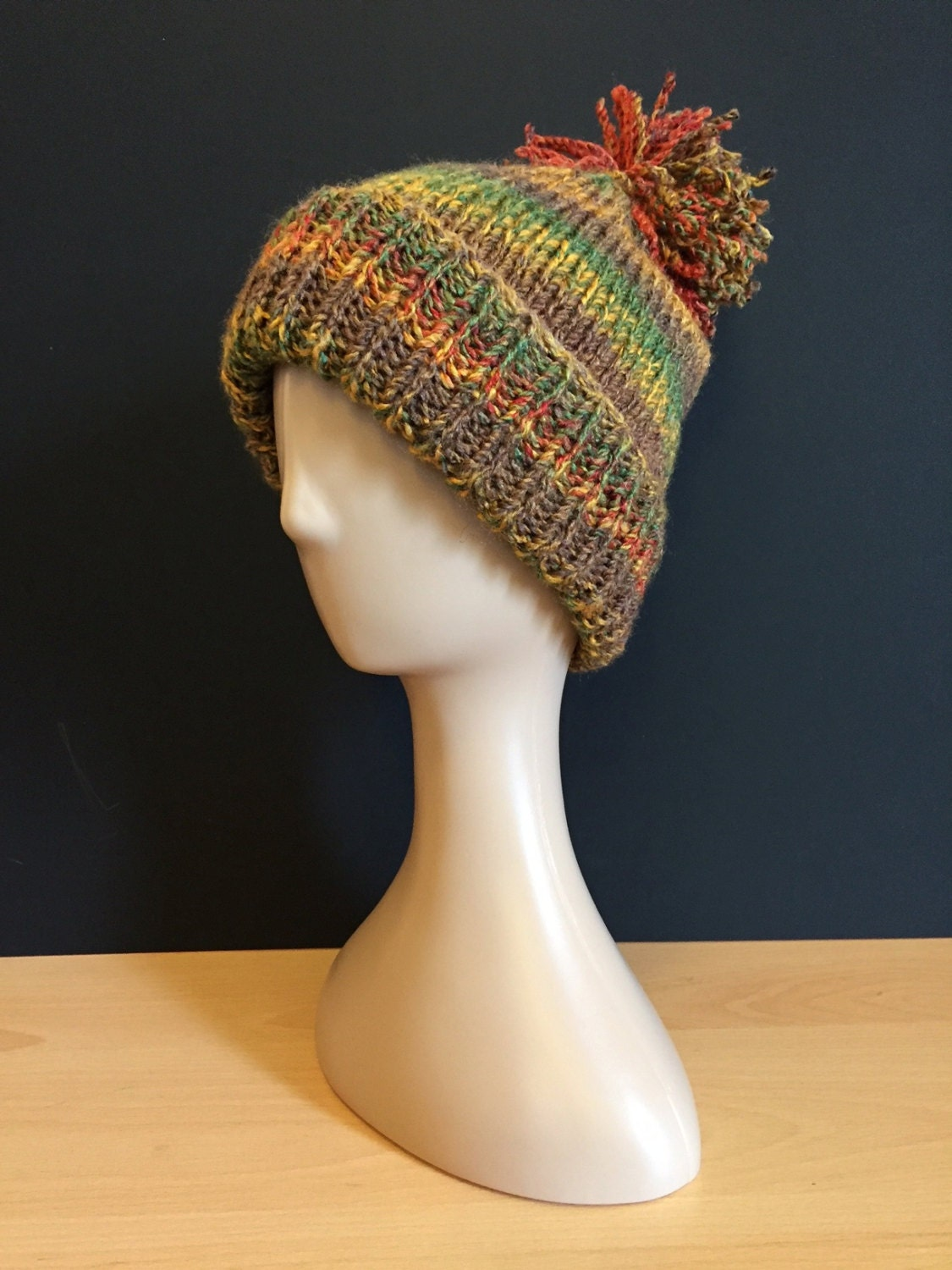 Hand Knitted bobble hat  redmustardgreenbrown (autumn)