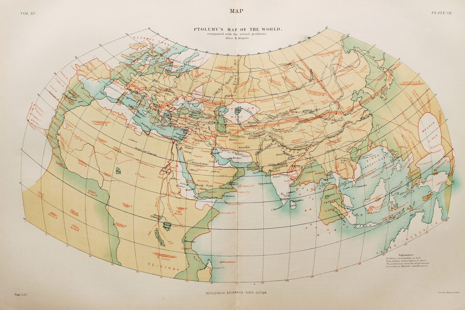 Antique Map Ptolemys Map of the World Encyclopedia Britannica 1870s
