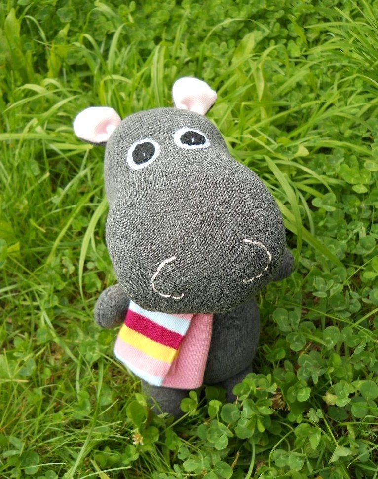 Sock hippo, handmade sock animal, stuffed toy, soft sculpture, Hilary