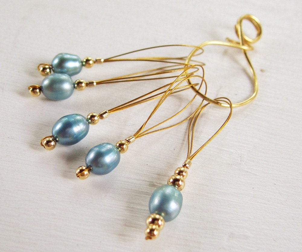 Treat yourself or a friend to stitchmarkers... Blue Pearls