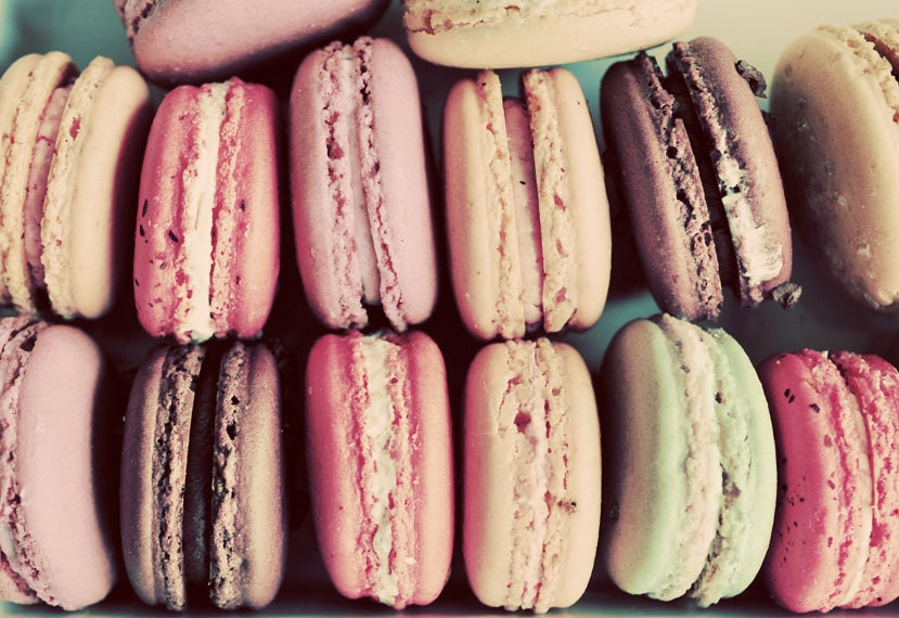 Food Photography, Macarons, 5x7  Print, Pastel Color, Kitchen Art, French Cookies Photo - birdandbloke