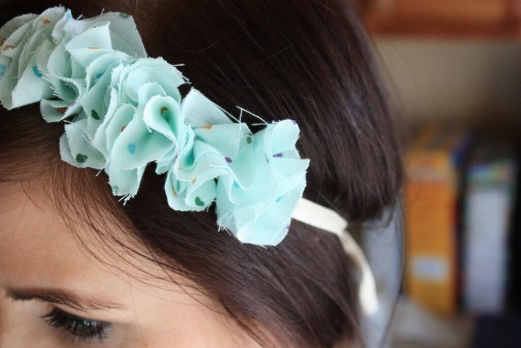 Ruffle Headband- seafoam green with hearts
