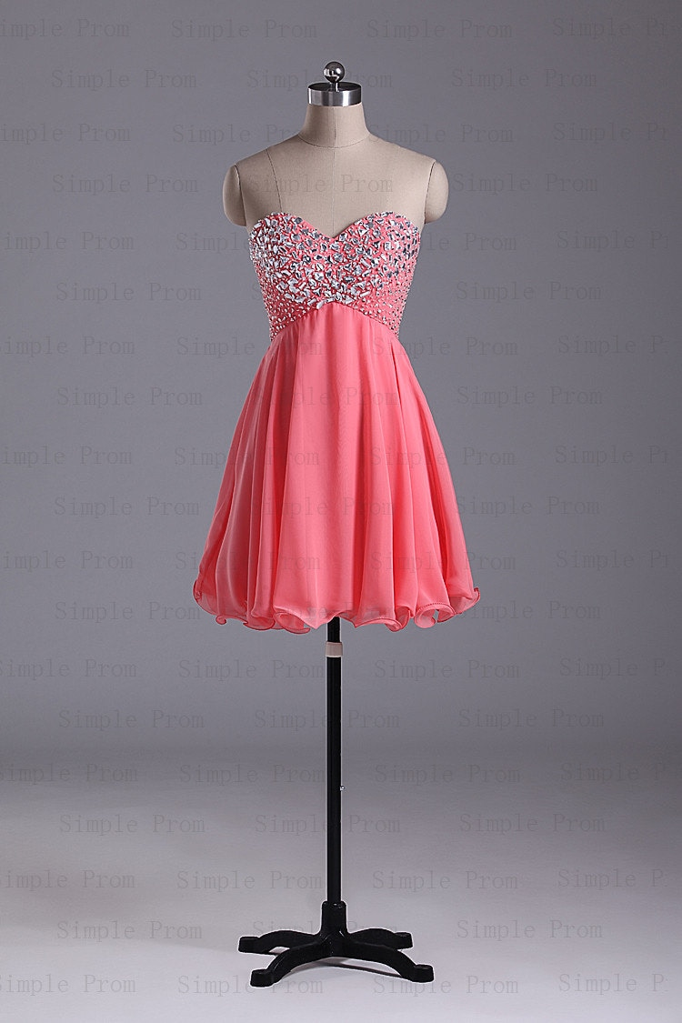 A-line Sweetheart Above the Knee Sleeveless Coral Chiffon Fashion Prom Dress Bridesmaid Dress Evening Dress Party Dress 2013 With Beading