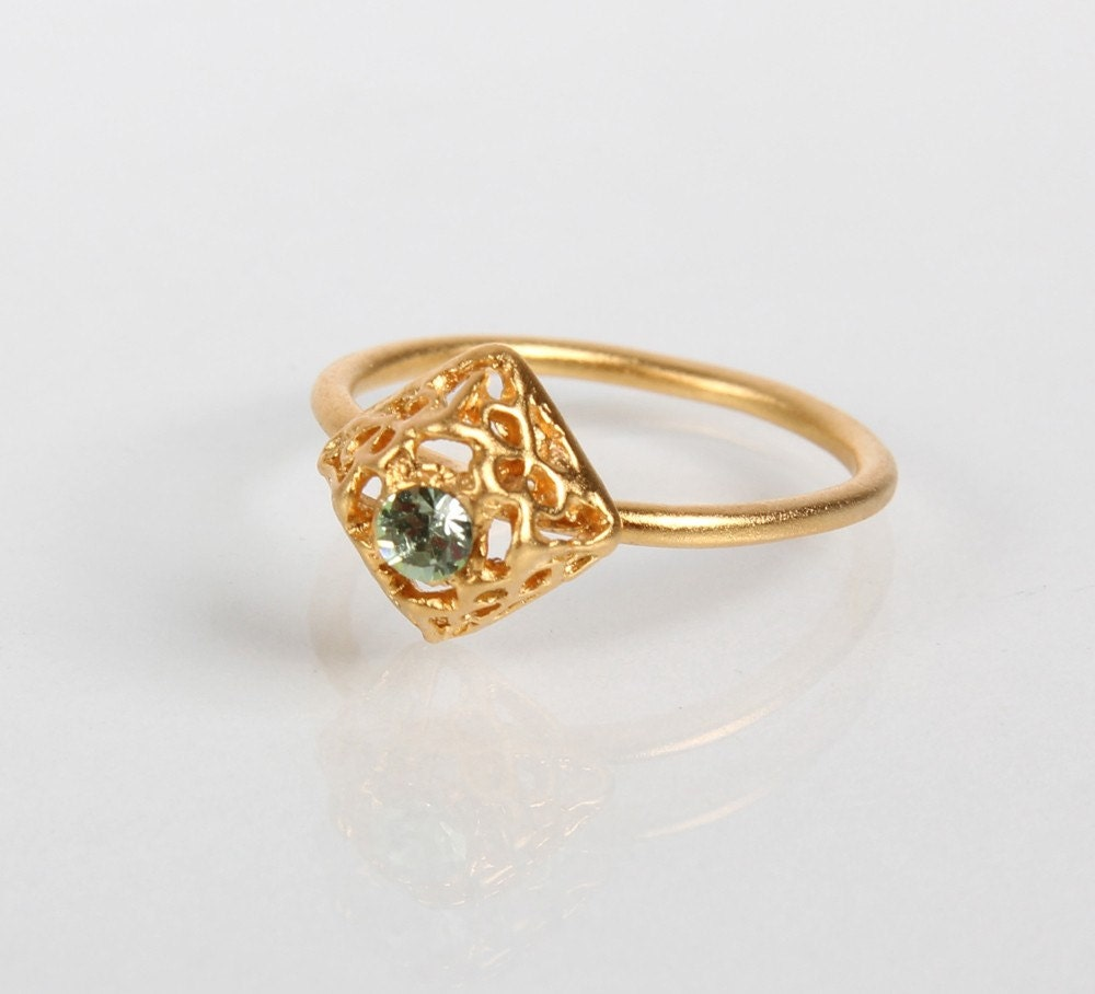 Gold plated Eden Ring with Swarovski Crystal