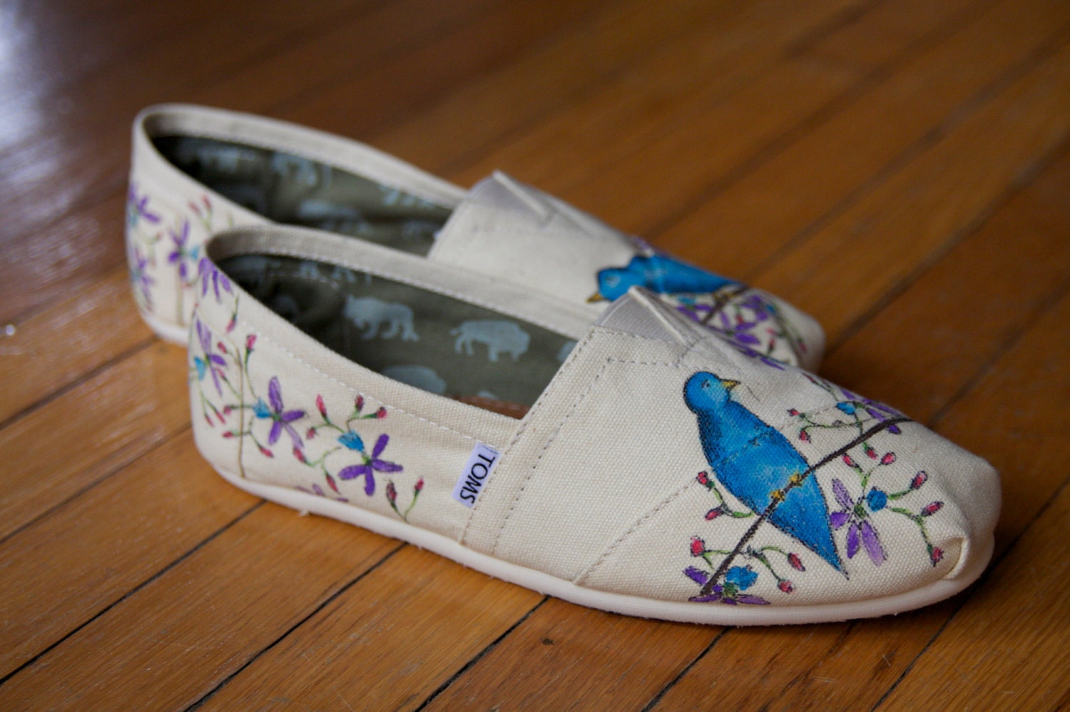 Custom TOMS Shoes - Blue Birds in the Flowers