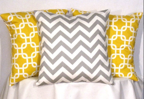 Designer Pillow Covers - Set of 3 - 18 X 18 Inch Chevron and Gotcha Pillow Covers - Decorator Pillows