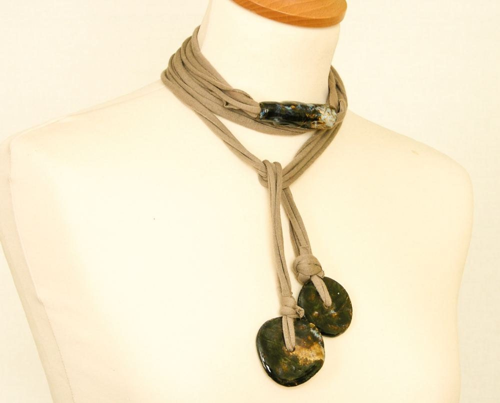 Skinny scarf lariat necklace eco friendly scarf necklace cotton jersey ceramic long beige blue black vegan upcycled recycled tagt team teamt