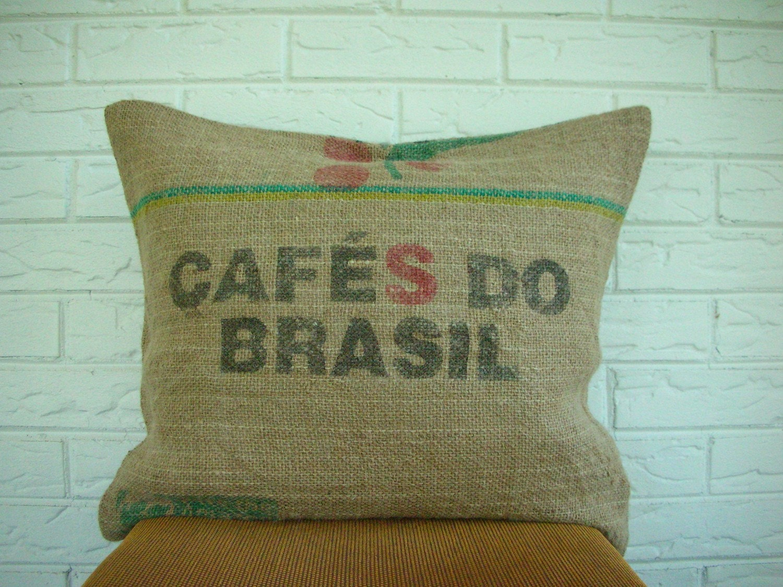 "RESERVED-Cafes Do Brasil Reclaimed Burlap Coffee Sack Pillow Cover, Brazil, 16"" x 20"""