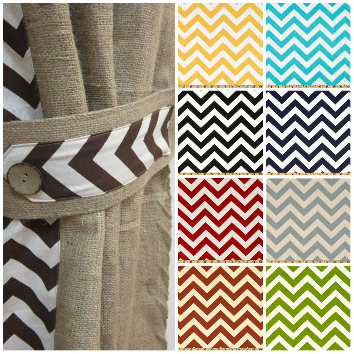 Drapery panel/Window Treatments/Burlap curtains/Chevron curtains ...