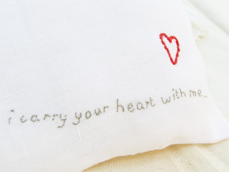 Linen embroidered pillow - i carry your heart