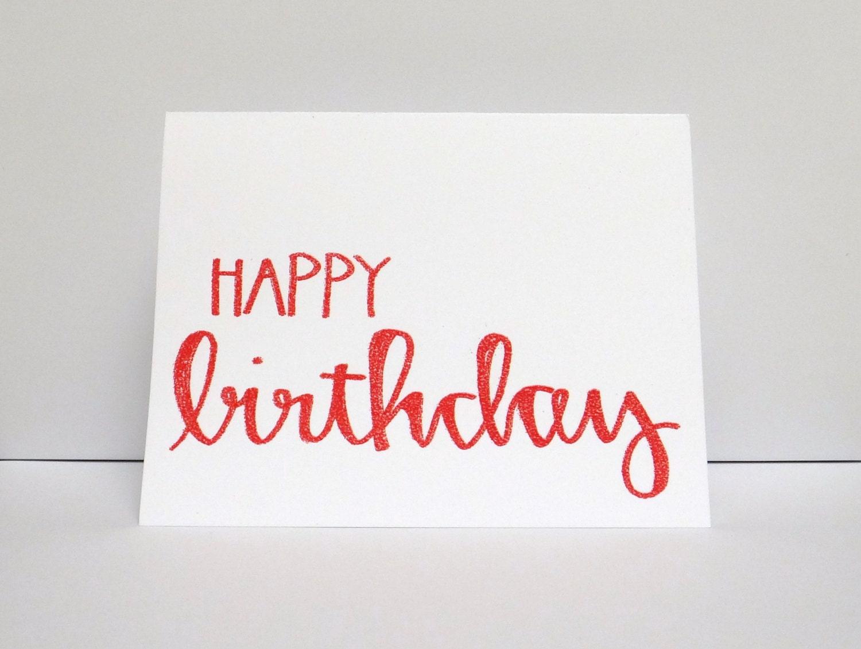 Red happy birthday modern calligraphy heat by modernmemo