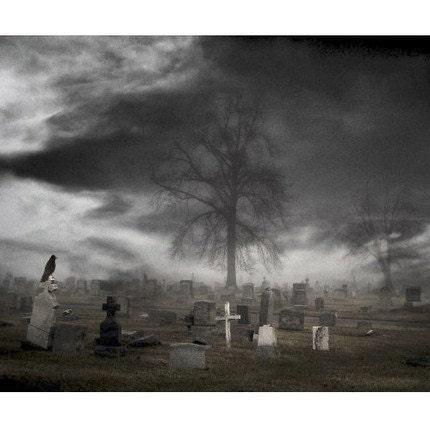 Monochrome Eerie Crow Cemetery Raven Tombstone Gothic Art