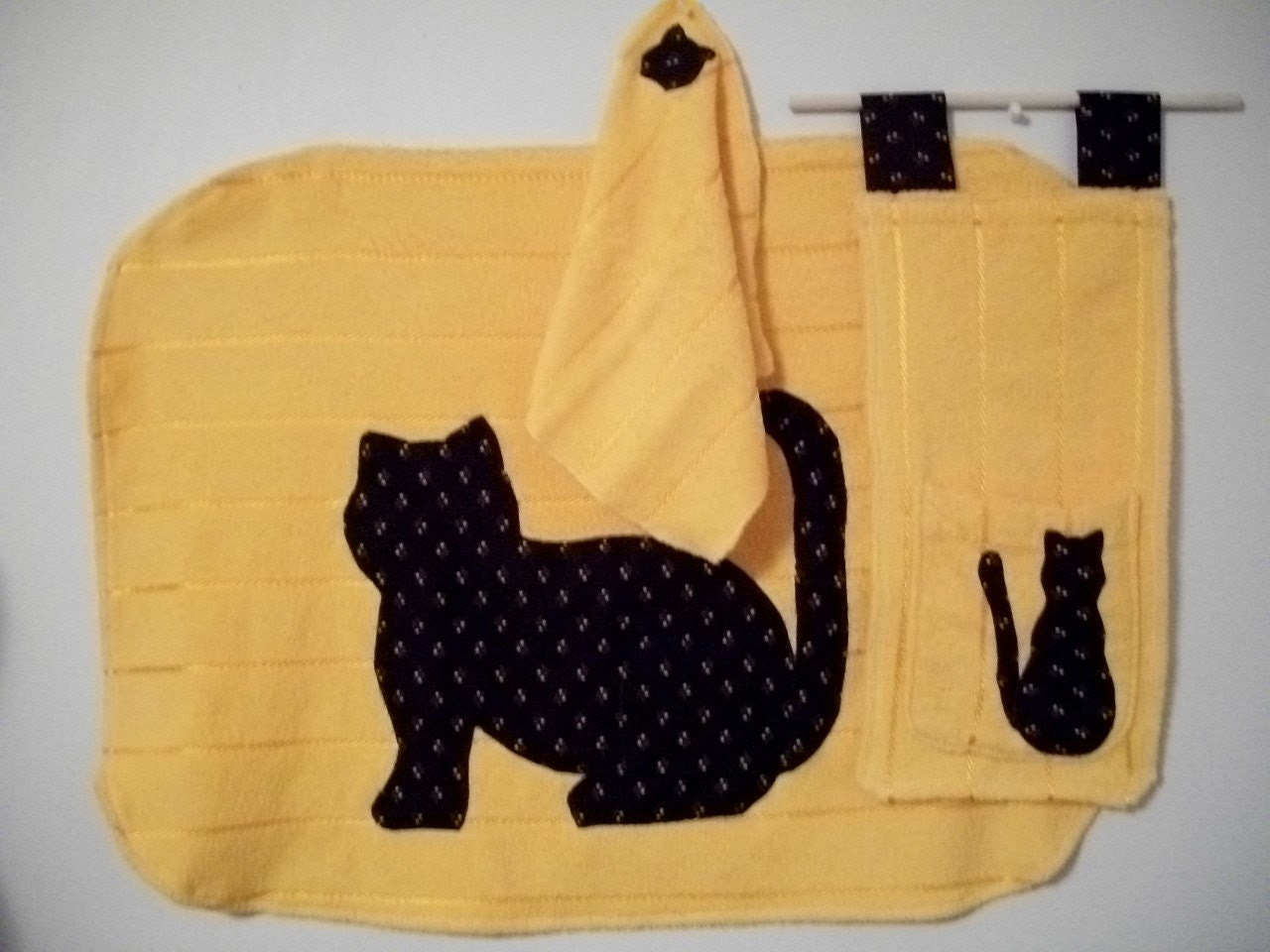 BATH SET/ Cats on Yellow 3 pc