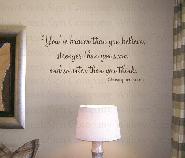 Winnie the Pooh Braver Smarter Stronger Vinyl Wall Lettering Art Decal Words Custom Sticker Willow Creek Signs