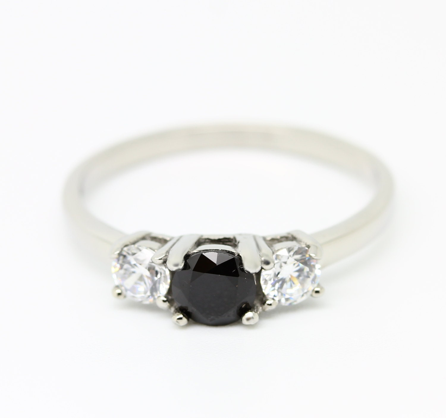 1ct genuine Onyx and white sapphire Trilogy ring  Availabie in Sterling silver or titanium  engagement ring  wedding ring