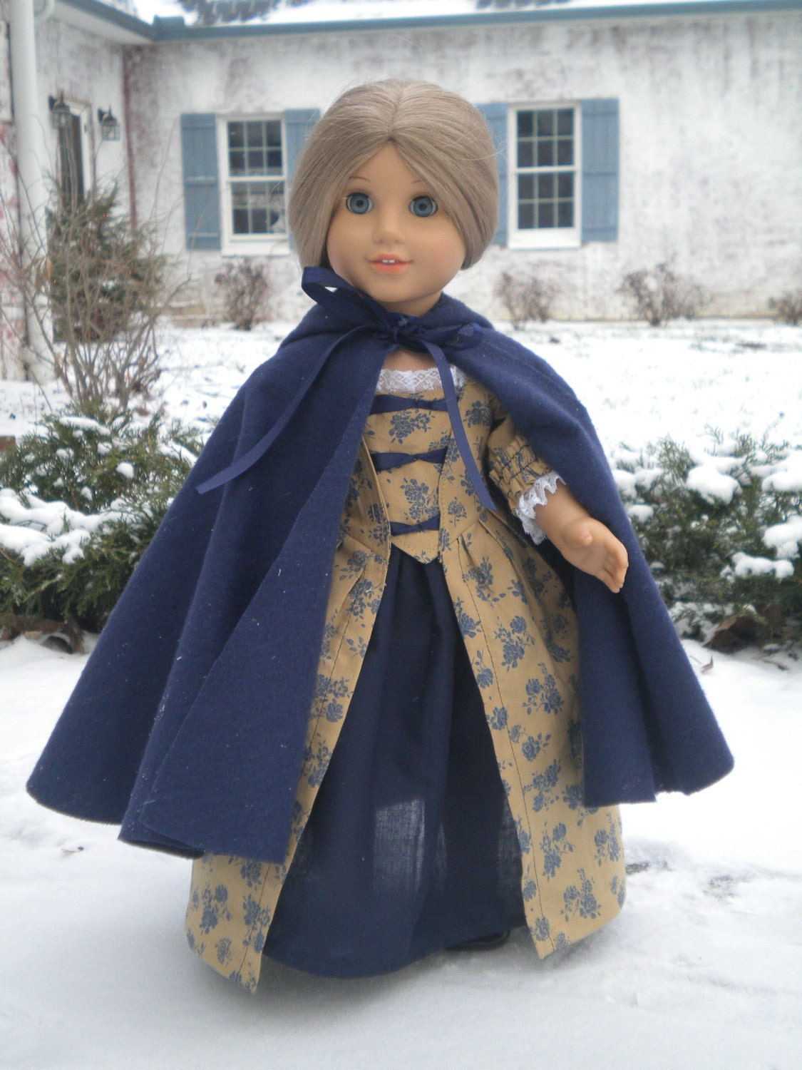 Colonial Polonaise Winter Gown with Cloak