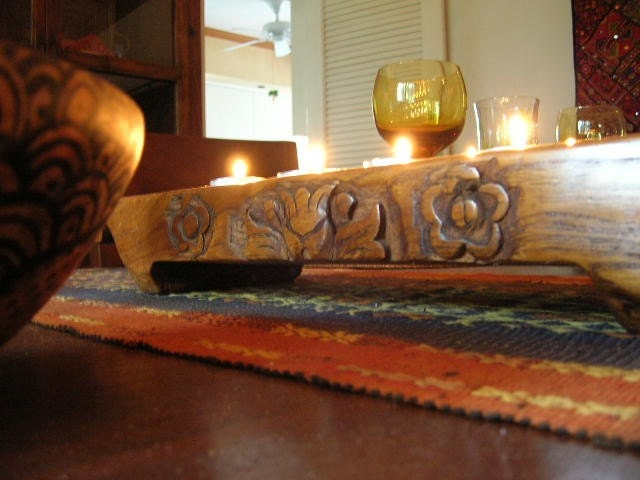 Gorgeous Vintage Indonesian Teak Long Candle Holder Wood Engraved Sides Votive or Tea Lights