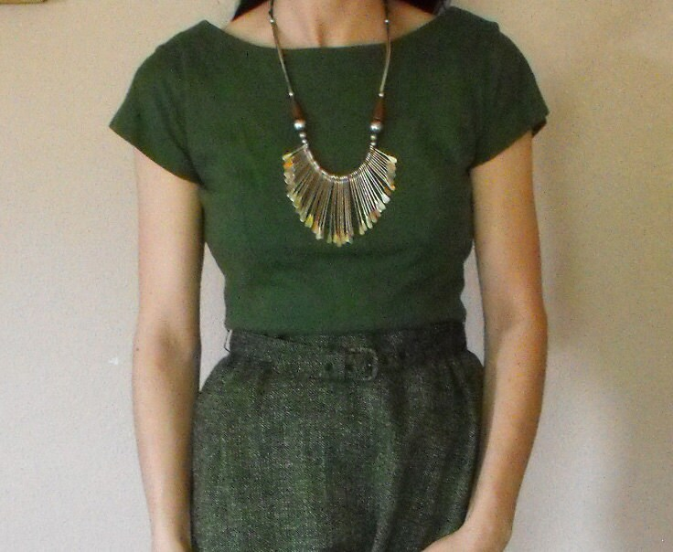 Vintage 60s Green Dress Wool and Tweed Army Olive