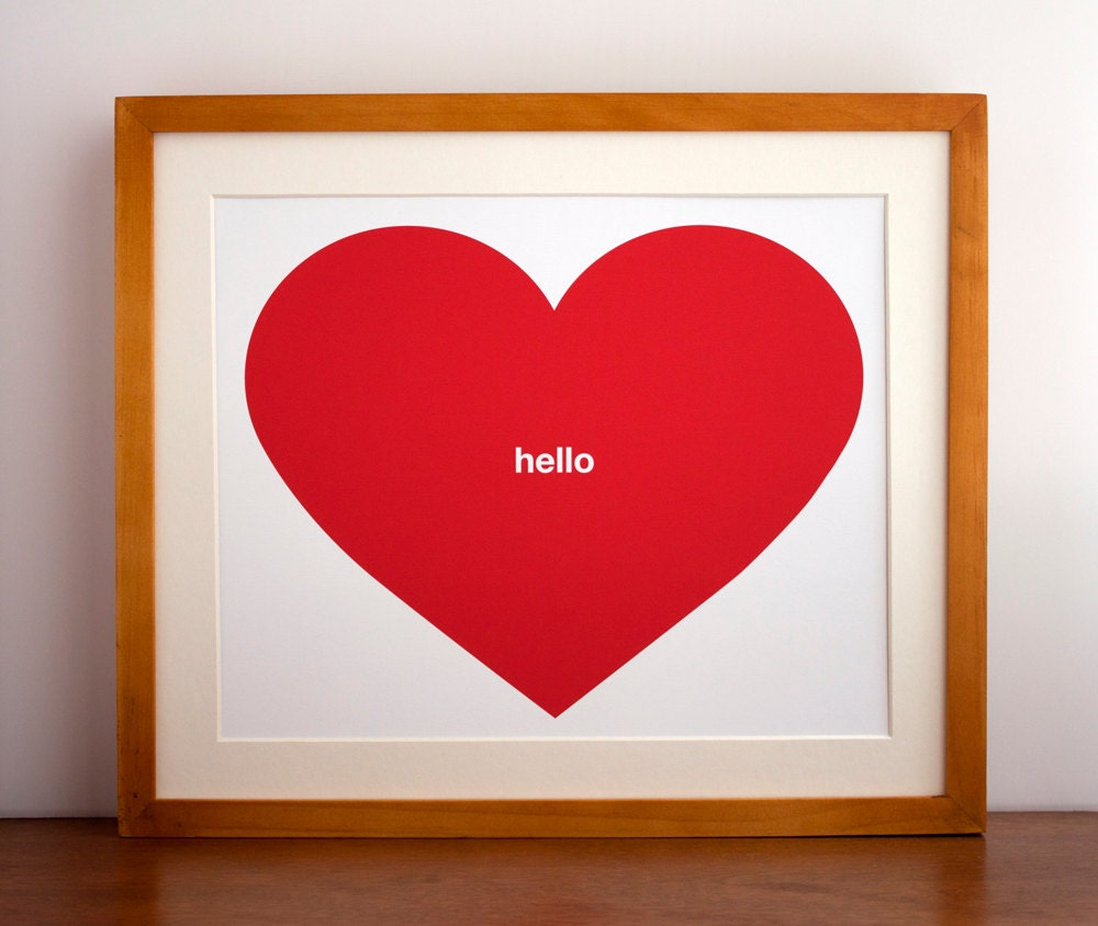 Red Hello Heart Print, Typography, Red Heart, Conversation Heart - Free US Shipping