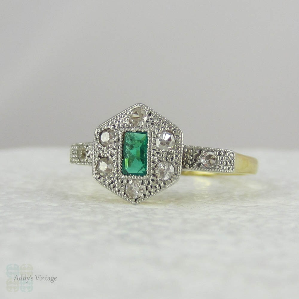 RESERVED Art Deco Emerald Engagement Ring with Geometric by Addy