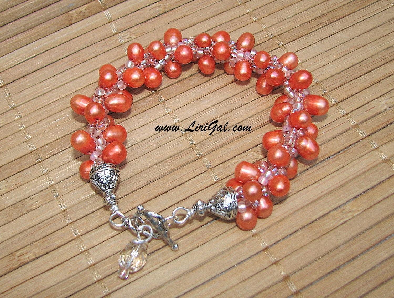 Orange Pearls Beaded Crocheted Bracelet.