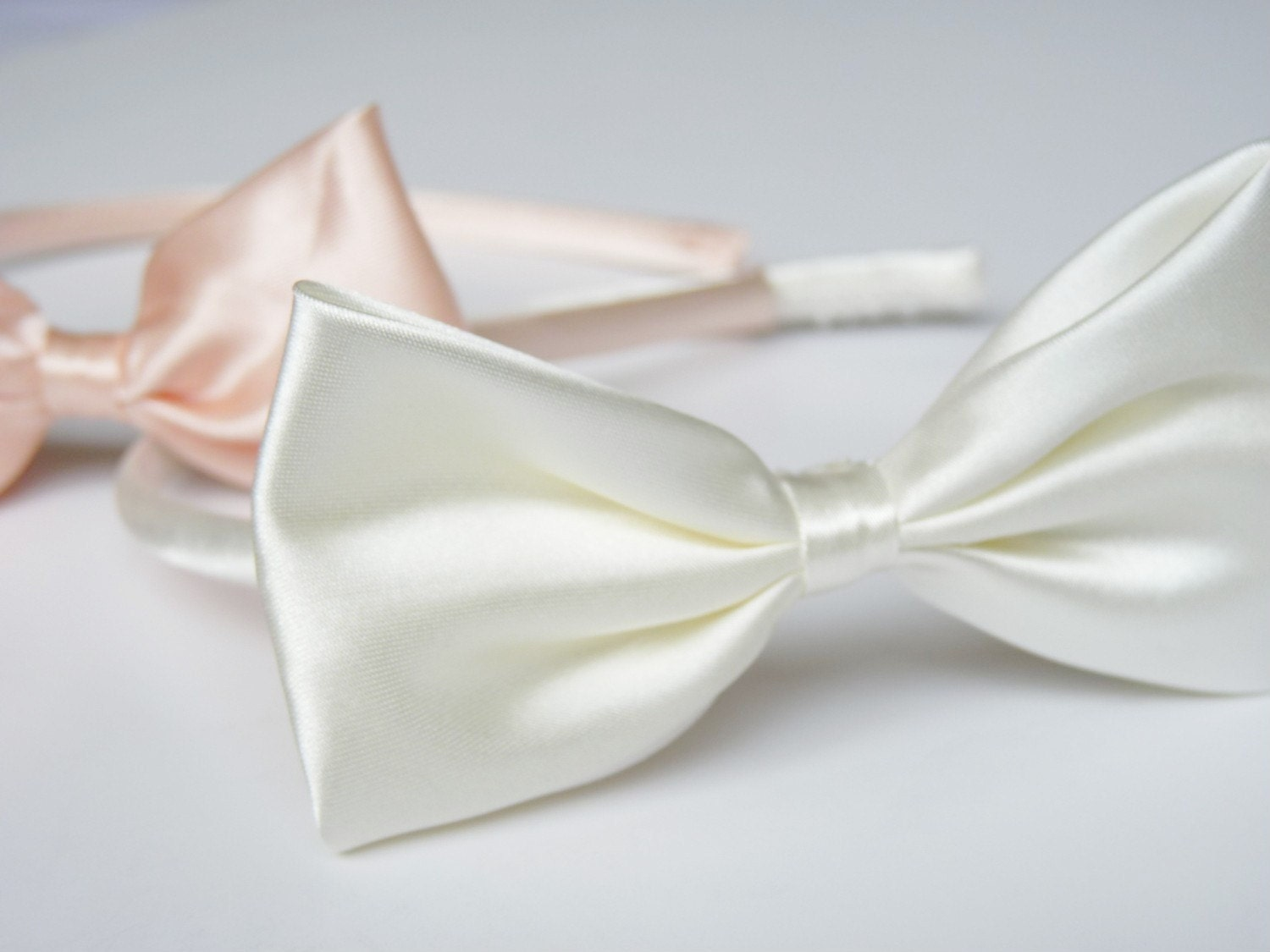 Two Satin Bow Alice Headbands in Snow White and Peach Color