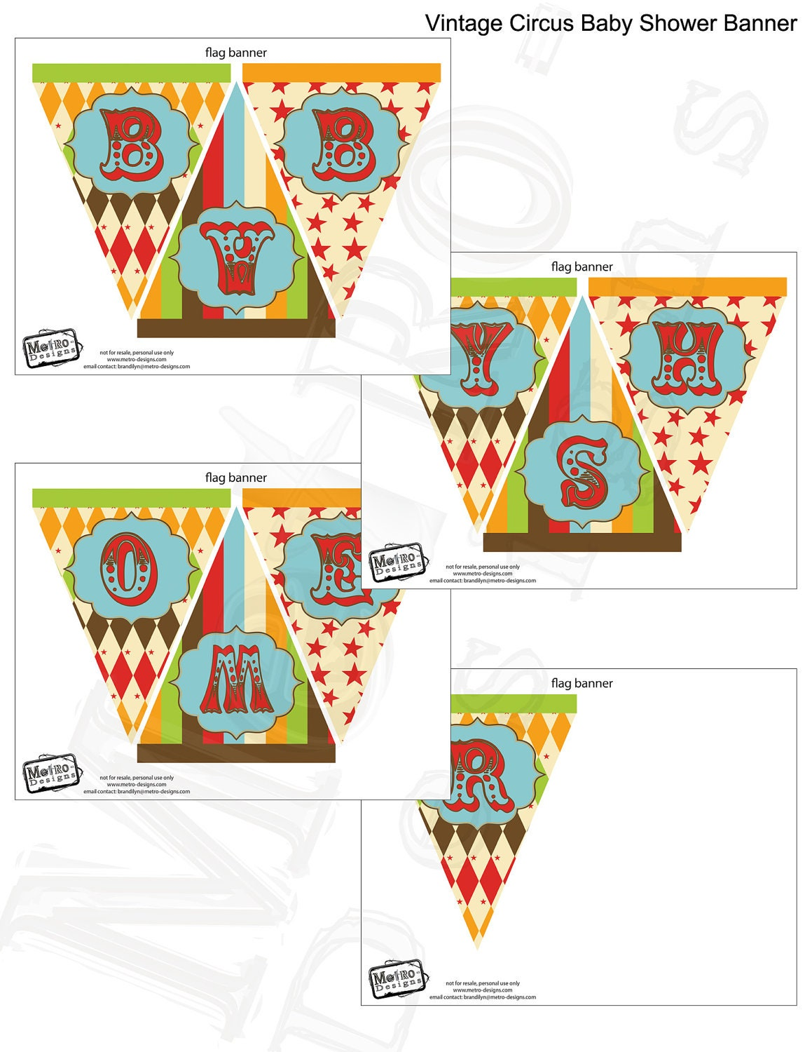 vintage circus baby shower banner digital file by metroevents