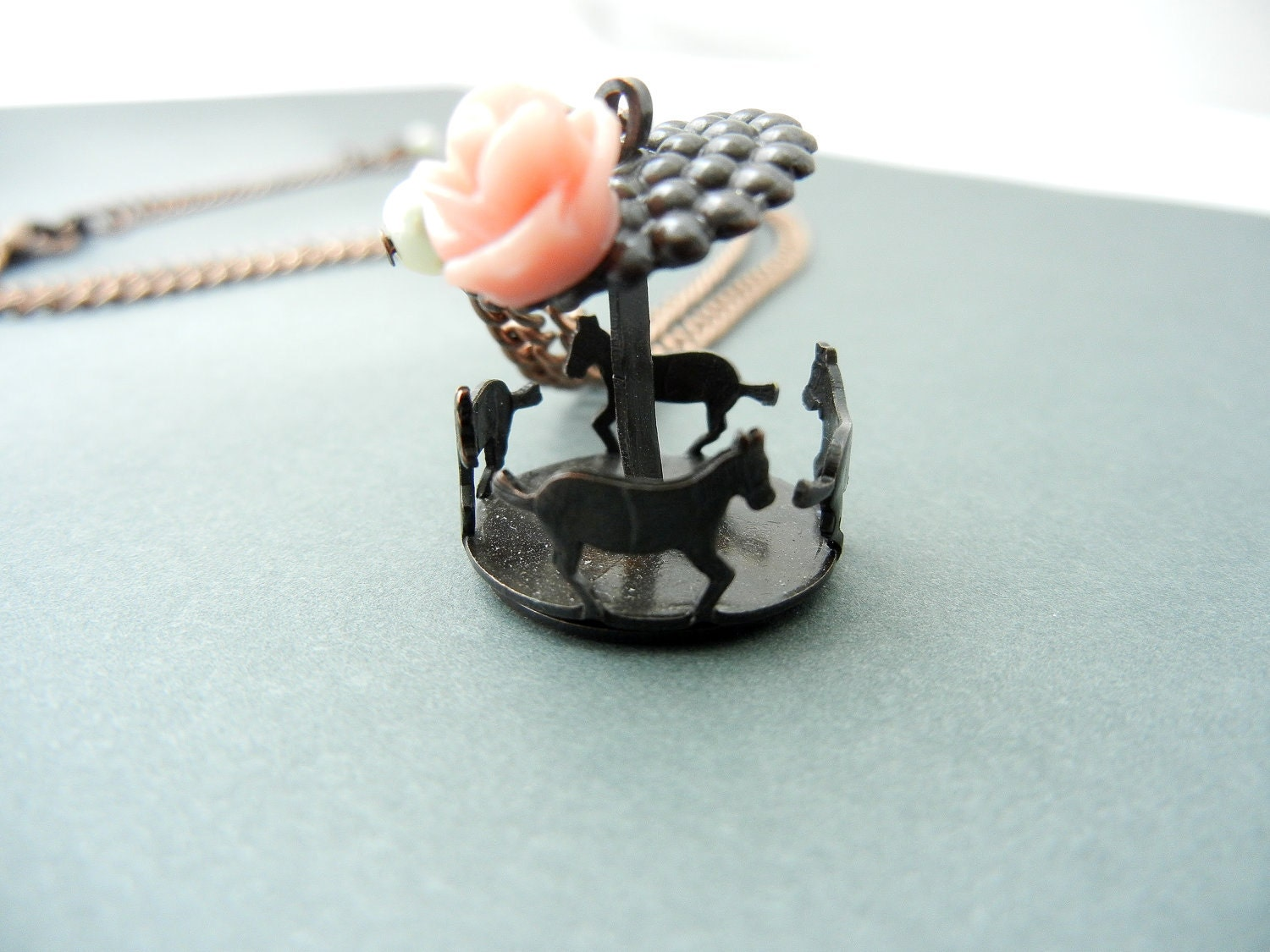 Tiny Carousel Whimsical Fair Necklace Pink Resin Rose Tiny Glass Pearl Brass Horses
