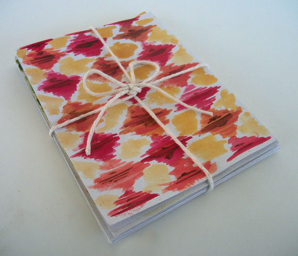 Hemp Watercolor Art Ikat Pattern Note Cards, Set of 3 - Hand painted - Blank for any occassion