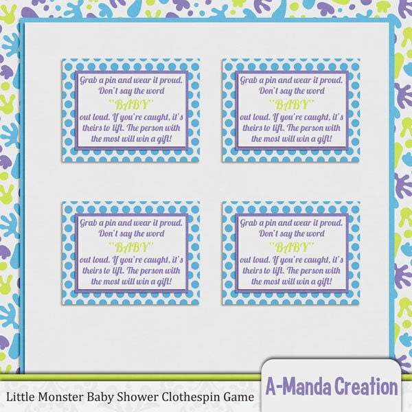little monster baby shower clothespin game by amandacreation