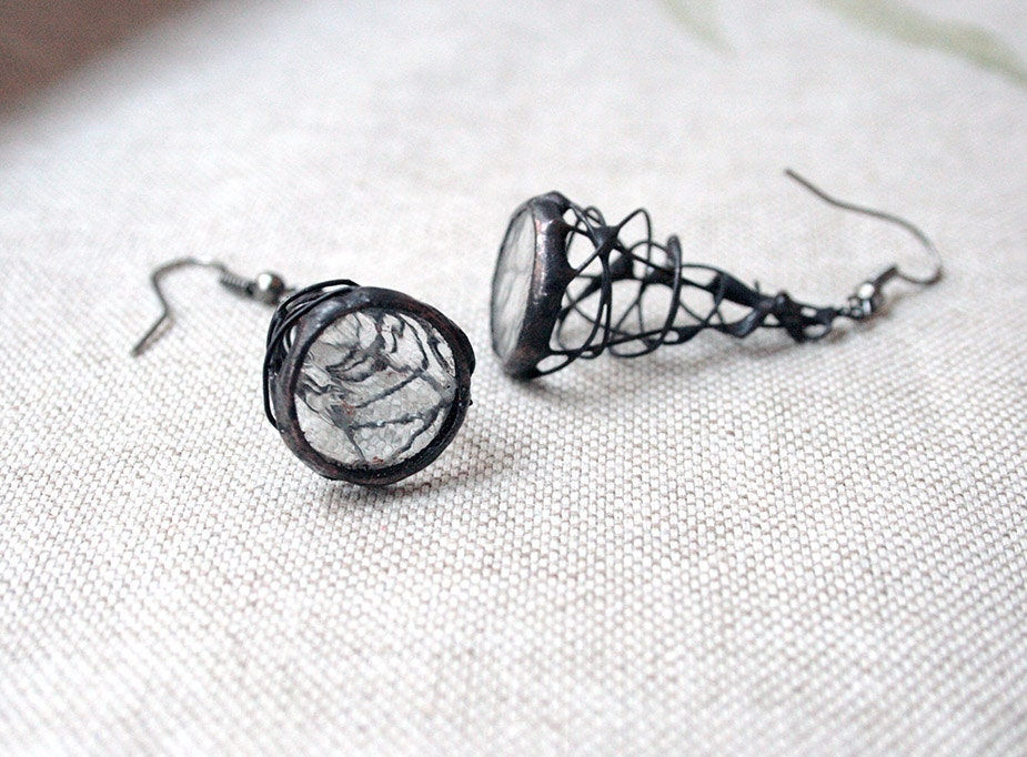 Earrings unique - pyramid spider web stained glass and patinated cooper - ArtKvarta