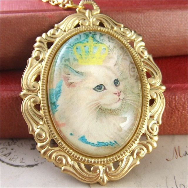 Miss Kitty Fantastico - Vintage Style Gold, Yellow, Blue and Green Cat Cameo Necklace
