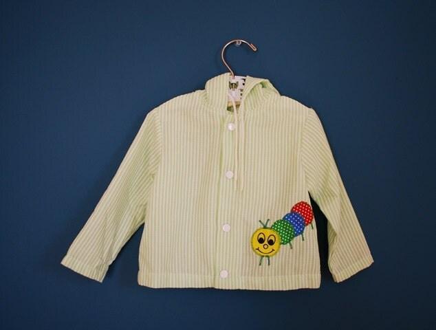 Vintage Toddler's Jacket with Caterpillar Applique- Size 12-18 Months - SweetShopVintage