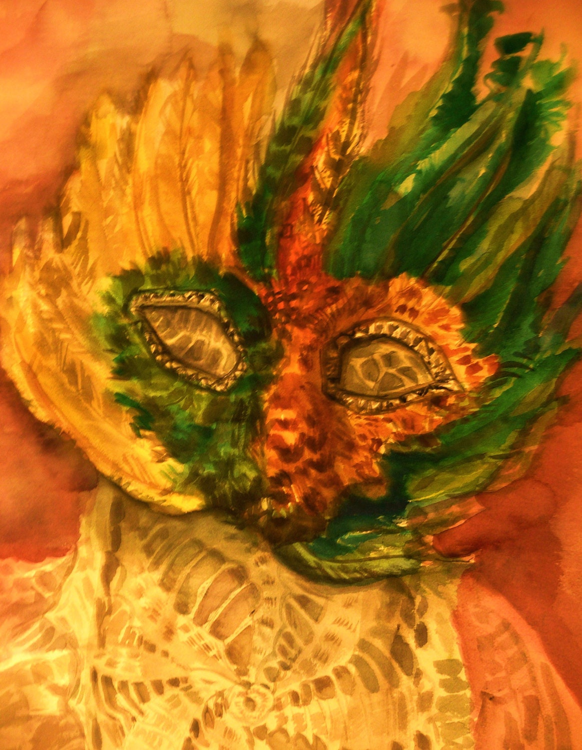 Mardi Gras Mask, Original Watercolor, Original Painting, Mardi Gras, Large Watercolor Painting, New Orleans, masks