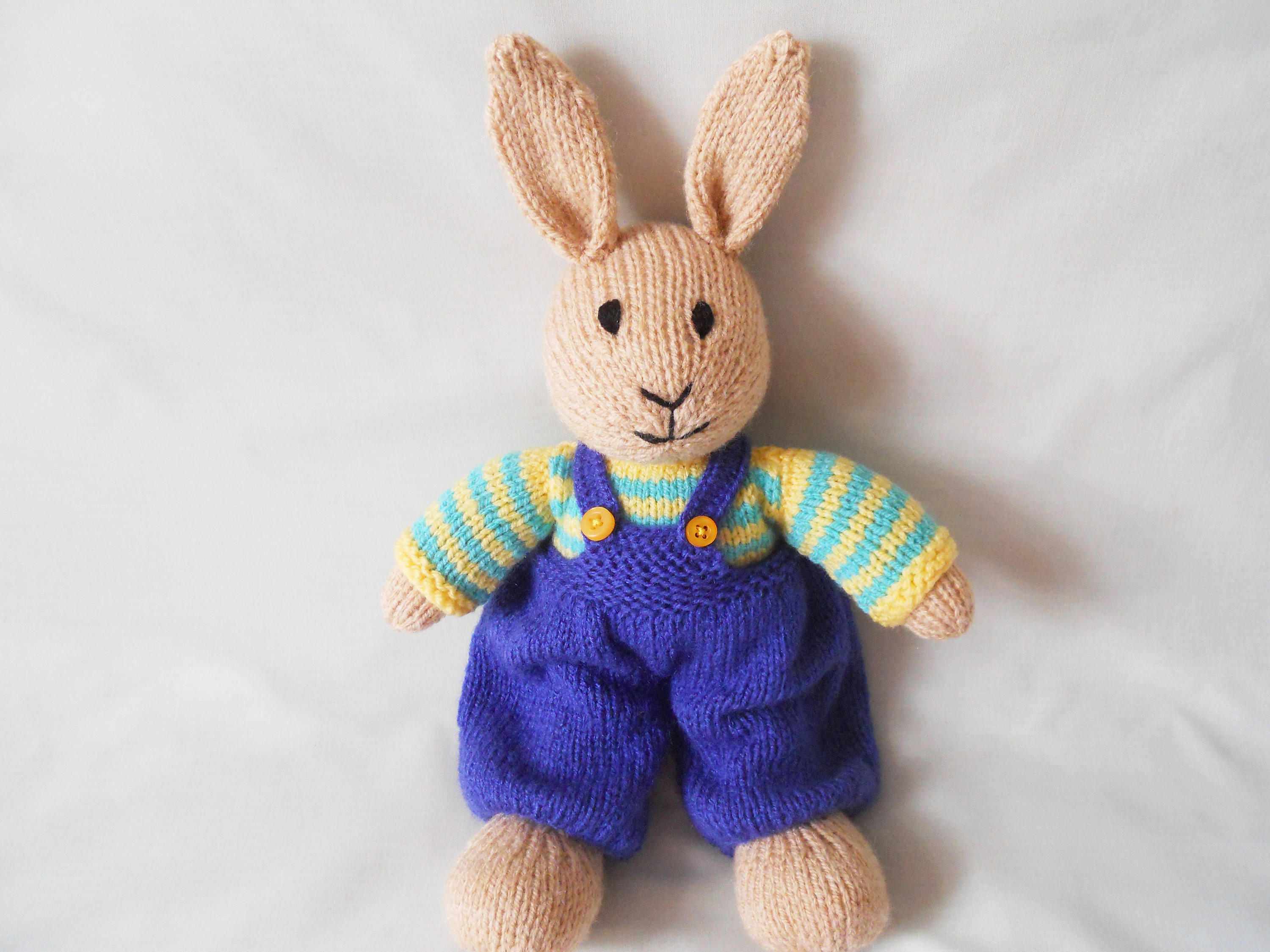 Rabbit Hand Knitted Rabbit Bob the dressed Bunny rabbit Handmade Toy Rabbit baby gift child gift Easter Gift