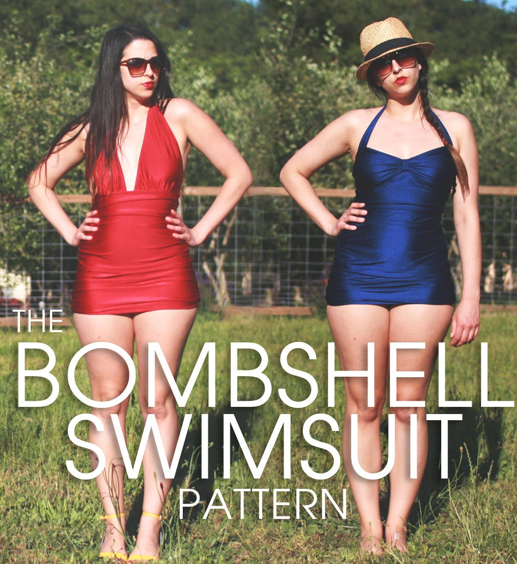 Bombshell swimsuit / bathing suit PDF Pattern. Vintage style. 3 variations: halter, maillot, high waist bikini