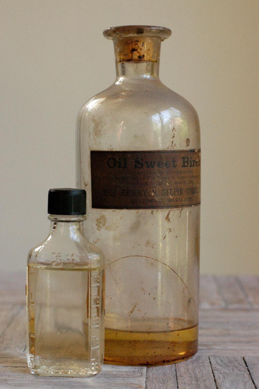 Vintage Apothecary Bottles, Set of 2