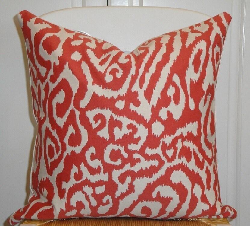 Beautiful Decorative Pillow Cover 18 x 18 INCH - Designer Fabric -  ANIMAL PRINT - Throw Pillow - Accent Pillow - Persimmon