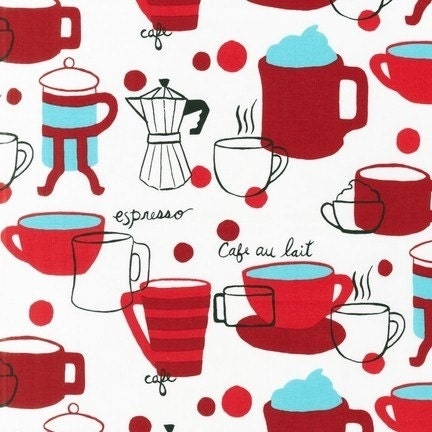 Monaluna, Metro Cafe, Coffee Press and Cups on White, 1 yard