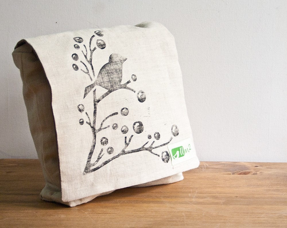Messenger bag - Organic linen - Bird on branch
