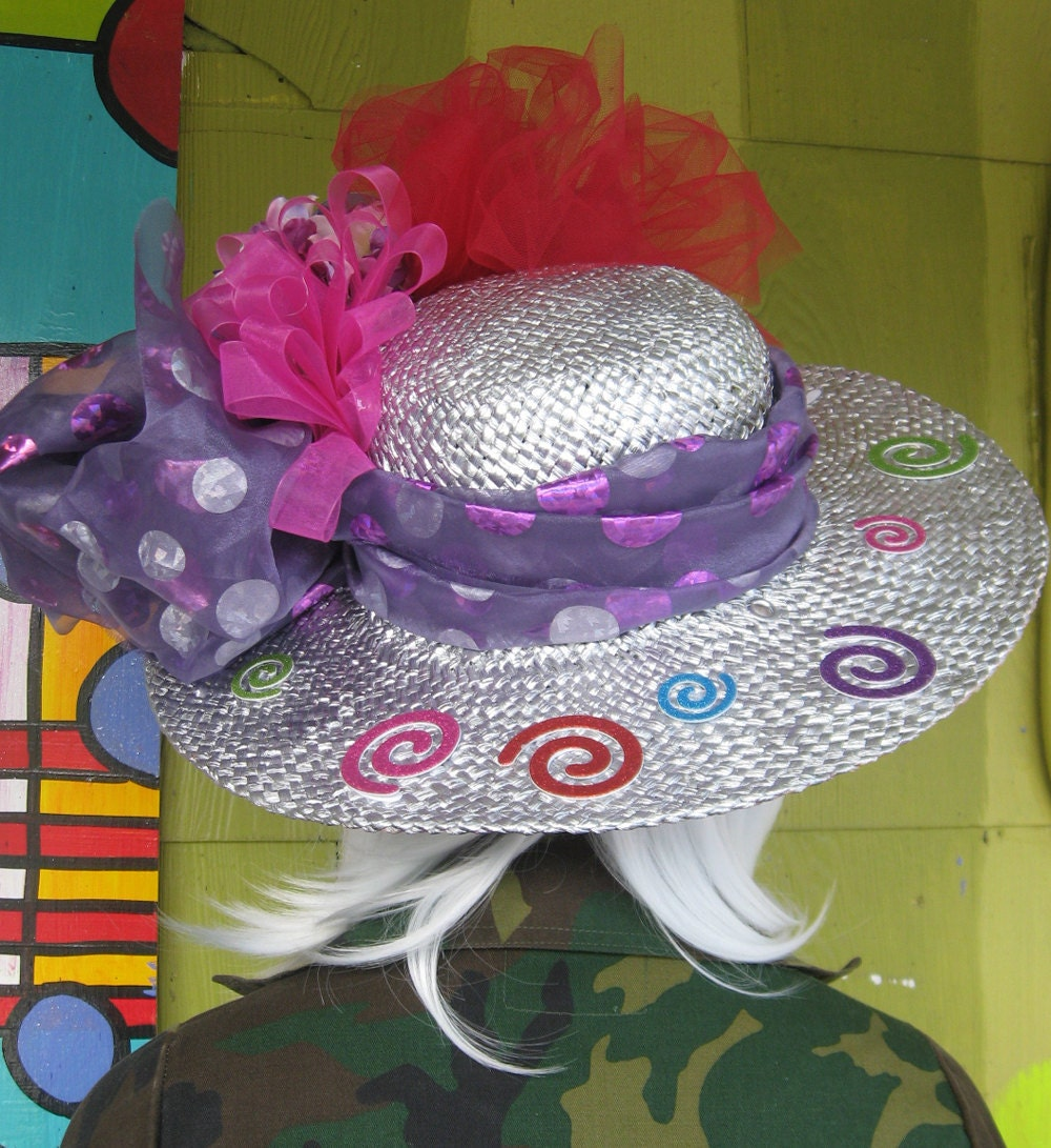 Funky Hand Painted Straw Hat with spirals and tulle