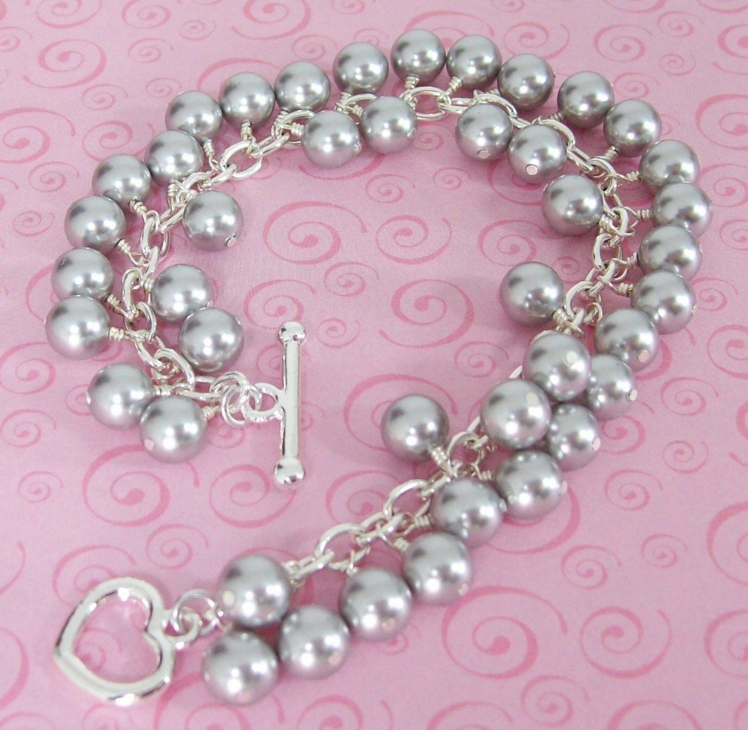 Light Grey Swarovski Pearl Charm Bracelet by shannonsroom on Etsy