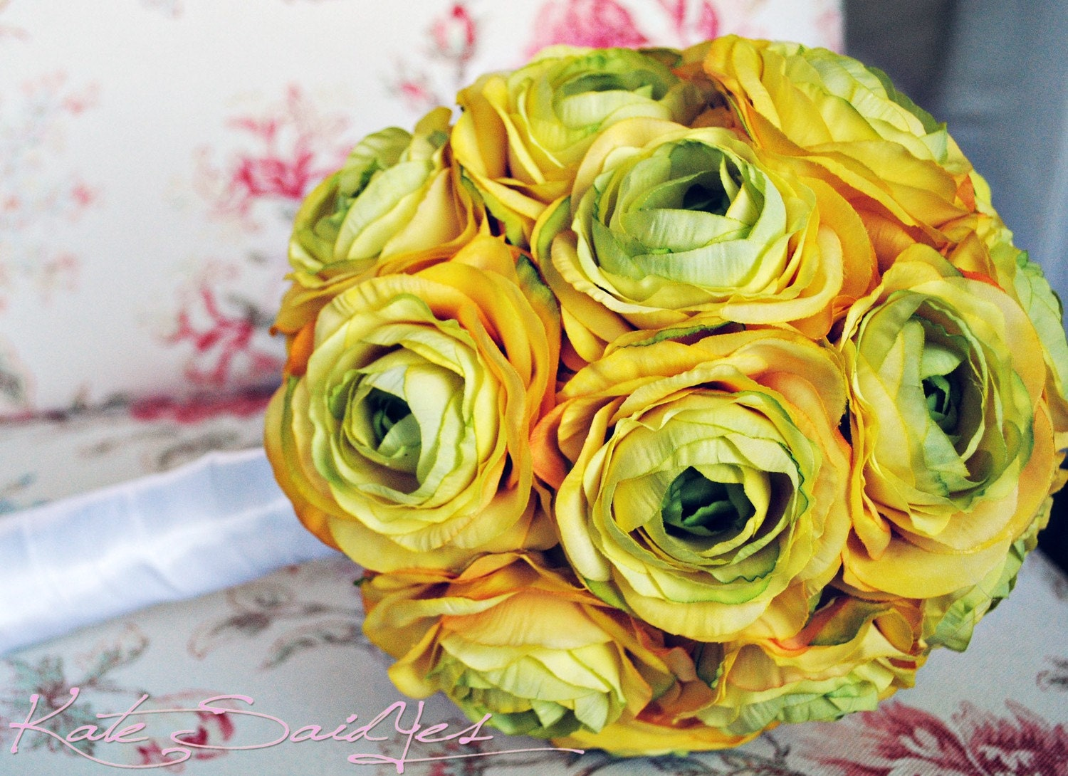Large Yellow Ranunculus Wedding Bridal Bouquet