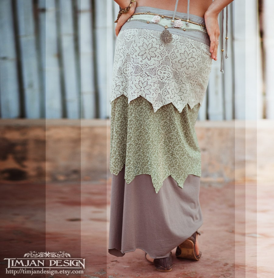 LONG PIXE SKIRT - Organic Wrap around Faery fairy costume - Wedding Bride - Sage green - TimjanDesign