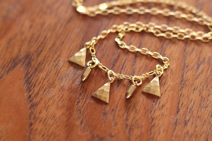 no. 148 tiny bullets and triangles necklace