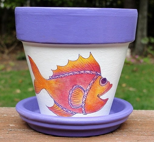 handpainted goldfish flower pot