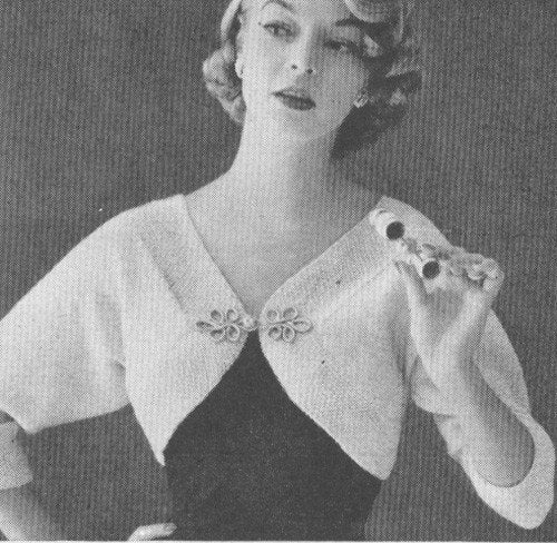 Knitting Pattern For Bolero Shrug : 1950s Vintage Shrug Bolero Knitting Pattern PDF 5502 by cemetarian