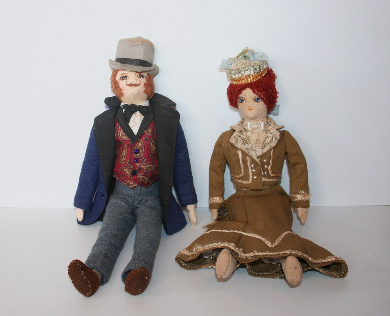 Two Unusual Old Dolls In Victorian Dress  MEMsArtShop.